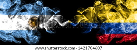 Argentina, Argentinian, Colombia, Colombian, competition thick colorful smoky flags. America football group stage qualifications match games #1421704607