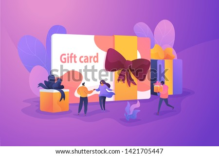 Gift card and promotion strategy, gift voucher, discount coupon and gift certificate concept. Vector isolated concept illustration with tiny people and floral elements. Hero image for website. #1421705447