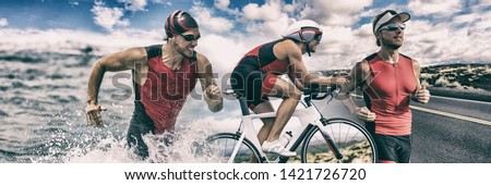 Triathlon sport banner man running , swimming, biking for competition race background. Triathlete swim bike run composite. #1421726720