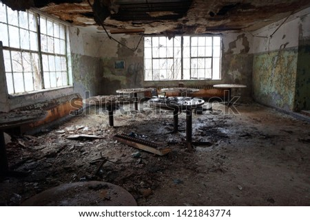 Cafeteria In Abandoned Hospital Building                           #1421843774