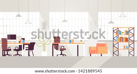 creative workplace modern open space empty nobody office interior contemporary co-working center flat horizontal Royalty-Free Stock Photo #1421889545