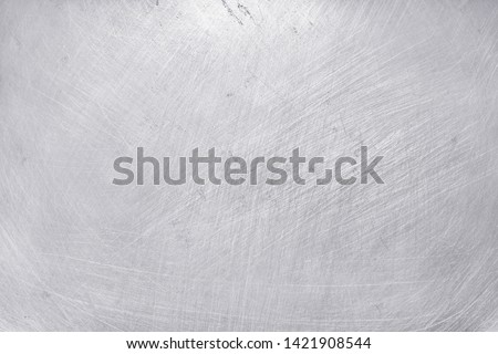 aluminium metal texture background, scratches on polished stainless steel. #1421908544