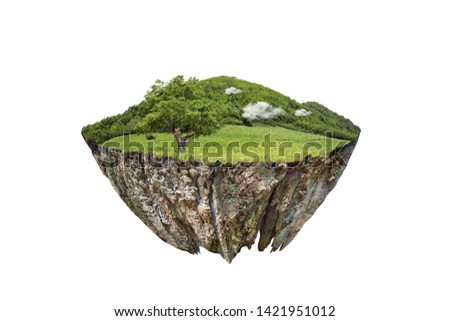 round soil ground cross section with earth land and green grass.  fantasy floating island with natural on the rock, surreal float landscape with paradise concept isolated on white background #1421951012