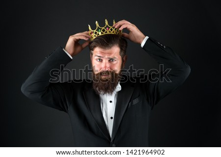 Sense of self importance. Big boss. King crown. Egoist concept. Businessman in tailored tuxedo and crown. Very important person. Important guest luxury party. Top manager. Important person award. #1421964902