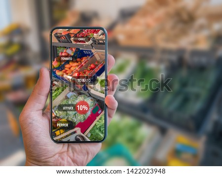 Grocery Shopping App with Retail AR (Augmented Reality) with name tags of vegetables. #1422023948