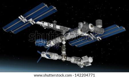 Satellite Space station flying over Earth with reflective solar panels and a modular interchangeable structure. #142204771