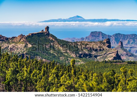 Colorful and scenic View Of Roque Nublo And El Teide - Tejeda, Gran Canaria, Canary Islands, Spain #1422154904