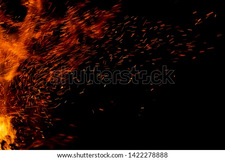 flame of fire with sparks on a black background #1422278888