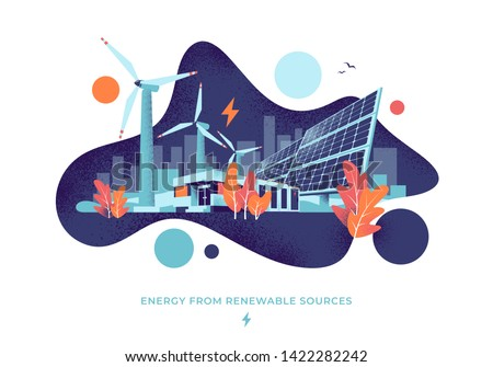 Modern vector illustration of clean electric energy from renewable sources. Sustainable renewal power plant station with solar panels, wind turbines and battery storage. City fluid shape background.