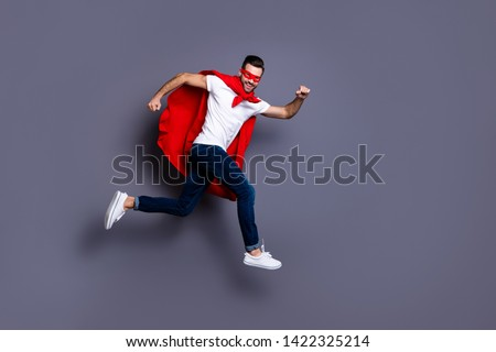 Full length body size view of his he nice-looking attractive content cheerful cheery glad virile masculine sportive macho bearded guy running marathon isolated over gray pastel background #1422325214