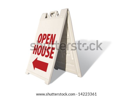 Open House Tent Sign on A White Background with room for logo or text above.