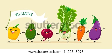 Funny vegetables go hand in hand after each other. Vector vegetable isolates in a cartoon style. Vitamins #1422348095