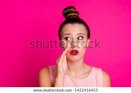 Portrait of charming lovely teen teenager hold hand share forbidden unbelievable unexpected news promotion wonder stare dressed top knot modern millennial glamorous background #1422416453