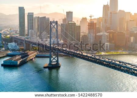 Aerial view of the Bay Bridge in San Francisco, CA #1422488570