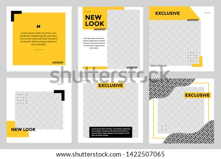 Set of Editable minimal square banner template. Black and yellow background color with stripe line shape. Suitable for social media post and web/internet ads. Vector illustration with photo college Royalty-Free Stock Photo #1422507065