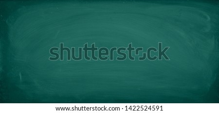 Green Chalkboard. Chalk texture school board display for background. chalk traces erased with copy space for add text or graphic design. Backdrop of Education concepts  #1422524591