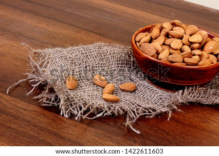 group of almonds or fresh almonds in glass bowl - Image #1422611603