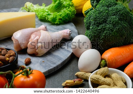 Ketogenic diet concept : Background photo of many raw fresh food ingredients for ketogenic diet program. #1422640496