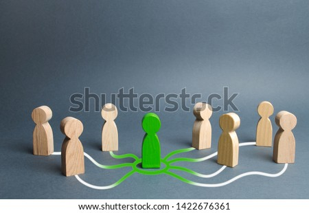 The green figure of a person unites other people around him. Call for cooperation, creating a new team. Leader and leadership, coordination and action, Social connections, communication. Organization #1422676361