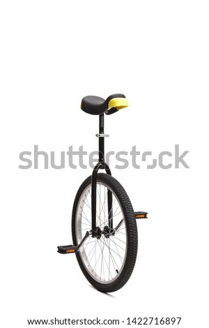 Black unicycle wheel isolated on white background #1422716897