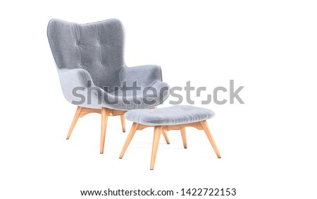 Fashionable modern gray armchair with wooden legs, ottoman isolated on white background. Furniture, interior object, stylish armchair. Single piece of furniture. Scandinavian style armchair #1422722153