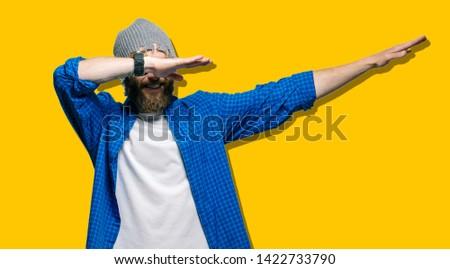 Crazy hipster guy emotions. joyful emotions #1422733790