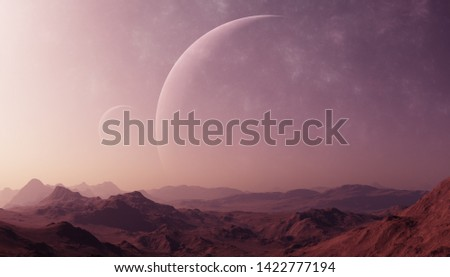 3d rendered Space Art: Alien Planet - A Fantasy Landscape with purple skies Royalty-Free Stock Photo #1422777194