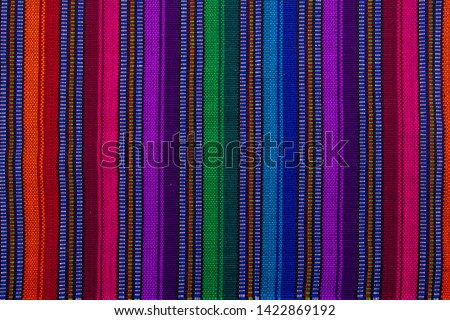 Close up of a guatemalan handmade textile in Antigua  Royalty-Free Stock Photo #1422869192