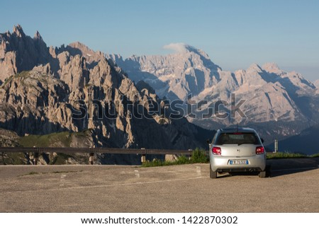 SESTO, ITALY- JUNE 19, 2018: The car park area in  Italian Dolomites mountain in summer #1422870302