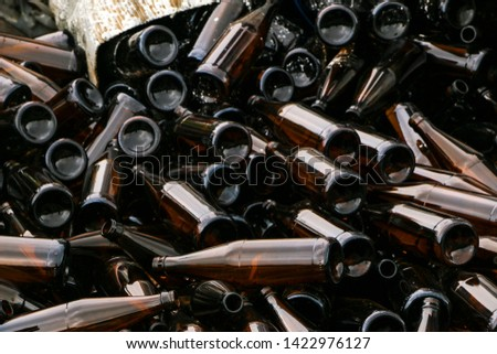 whole and broken brown bottles are scattered on the gravel.Concept: waste recycling, disposal of garbage #1422976127