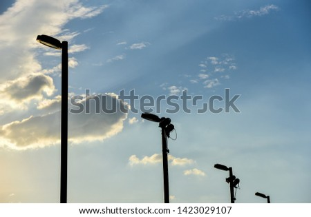 Pole lamp with evening sky background, Lighting equipment #1423029107