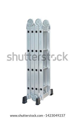 Folding Ladder In the open position on white background. convenient ladders ,Light weight, these ladders fold into a compact bundle for storing or carrying #1423049237