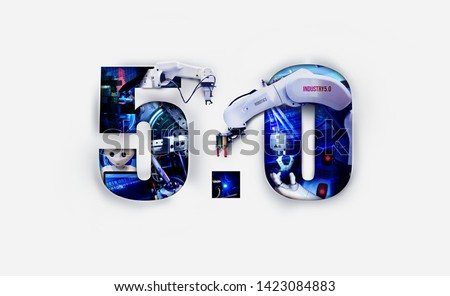 Industry 5.0 double exposure concept. 3D, Automation, Robotic arm and autonomous industrial technology. Collaborative Ai robot between human and hand machine. #1423084883