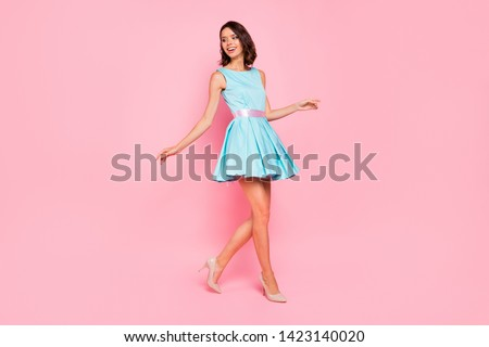 Full length side profile body size photo beautiful she her lady going graduation college university school walking street wear high-heels colorful blue dress isolated pink bright vivid background