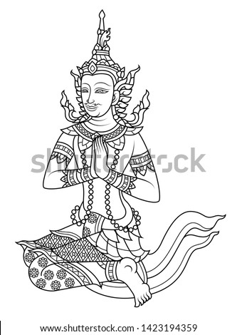 line vector traditional Thailand male angel put your hands together in a prayer position #1423194359