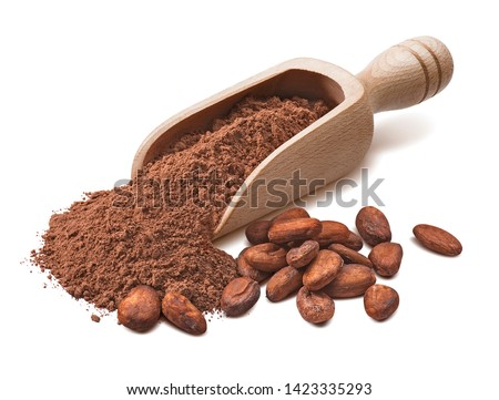 Wooden scoop with crude cocoa powder and raw beans isoladed on white background. Package design element with clipping path #1423335293
