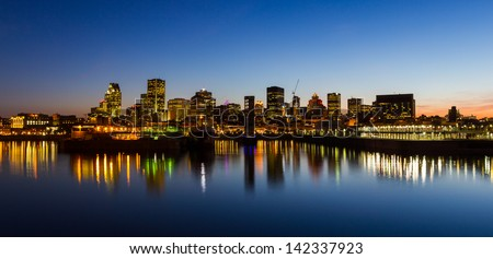 Montreal Quebec Canada City Skyline at Night
