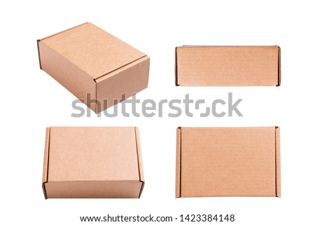 Isolated brown carton cardboard boxes