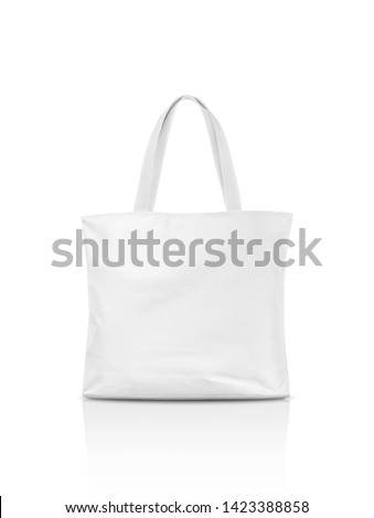 Blank white canvas tote bag for save global warming isolated on white background with clipping path #1423388858