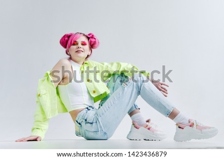 sneakers style fashion woman with pink hair