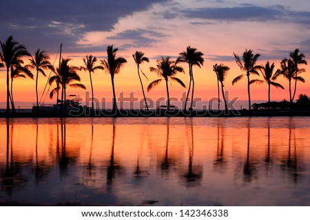 Paradise beach sunset or sunrise with tropical palm trees. Summer travel holidays vacation getaway colorful concept photo from sea ocean water at Big Island, Hawaii, USA. #142346338