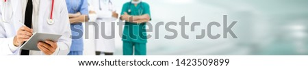Healthcare people group. Professional doctor working in hospital office or clinic with other doctors, nurse and surgeon. Medical technology research institute and doctor staff service concept. #1423509899