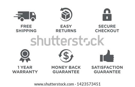E-commerce security badges risk-free shopping icons set Royalty-Free Stock Photo #1423573451