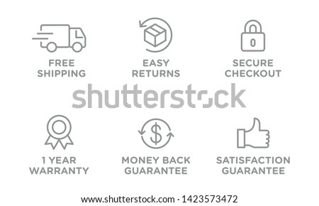 E-commerce security badges risk-free shopping icons set Royalty-Free Stock Photo #1423573472