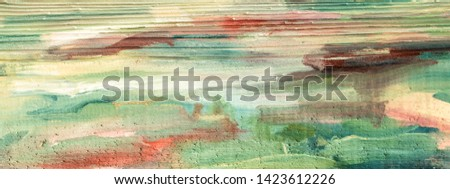 Wooden plank. Painted wood. Scandinavian element for interior design. Abstract  oil painting on wood. Absrract template for text. Colorful background.