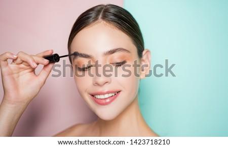 Beautiful thick eyebrows, a vivid glance. Perfect eyebrows, make-up correction #1423718210