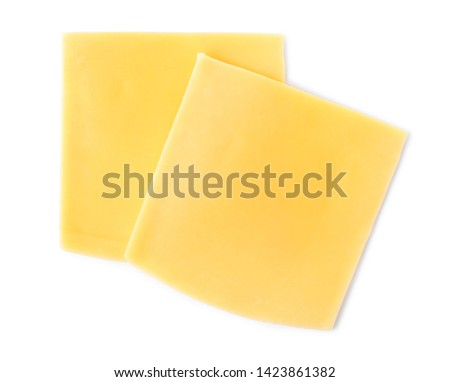 Slices of cheese for burger isolated on white, top view #1423861382
