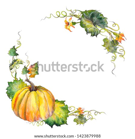 Autumn pumpkin with leaves and flowers. Watercolor illustration. Isolated on white background.