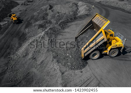 Open pit mine, extractive industry for coal, top view aerial drone. #1423902455