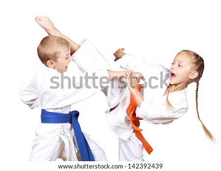 Protecting from an attack blow by a hand Royalty-Free Stock Photo #142392439